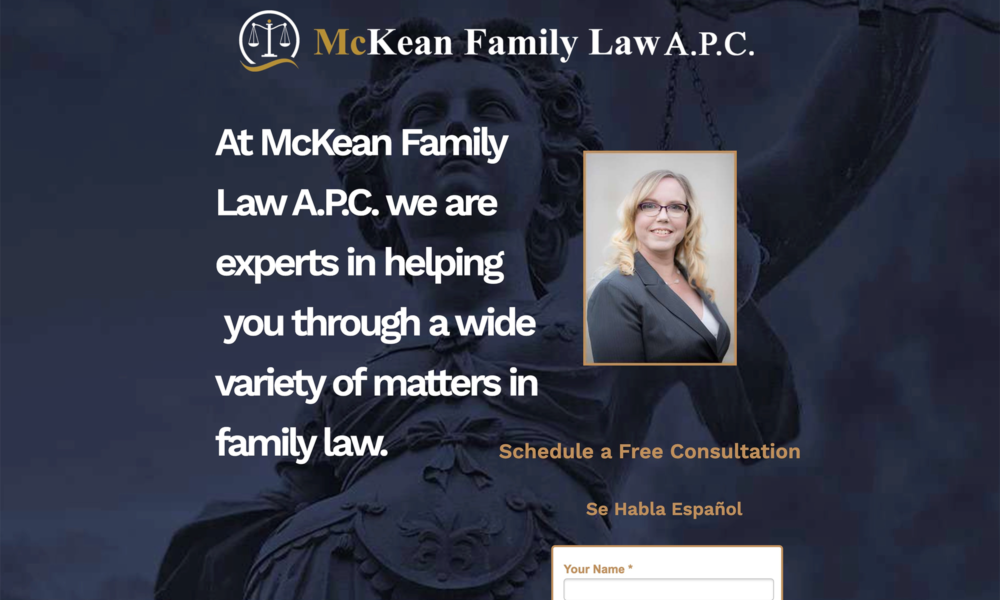 McKean Family Law Landing Page