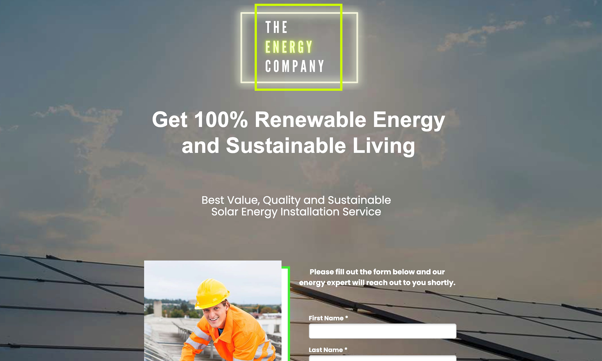 The Energy Company Landing Page
